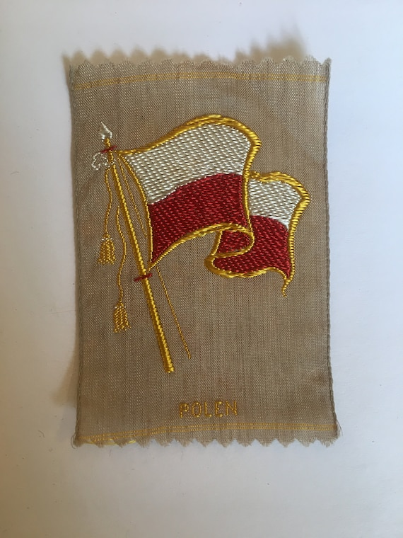 Vintage Dutch woven silk tobacco patch: flag Poland