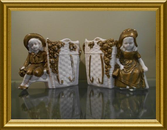 Two antique porcelain figurines / pitcher/ vases