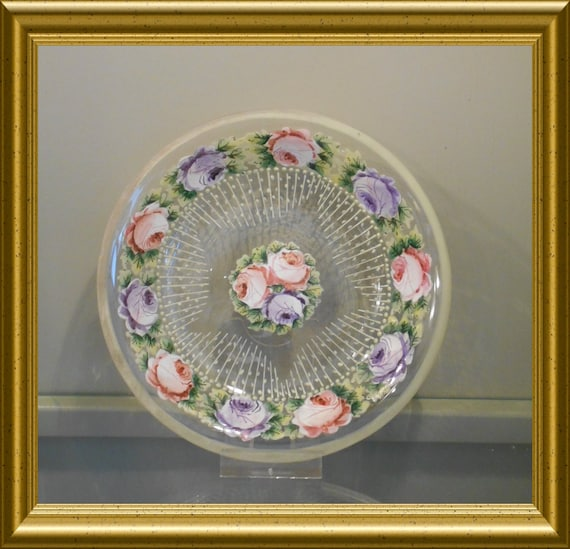 Antique glass dish with enamel flowers