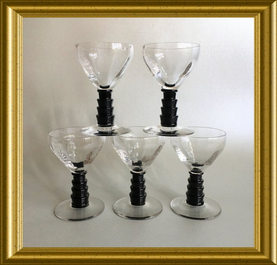 Five art deco small glasses