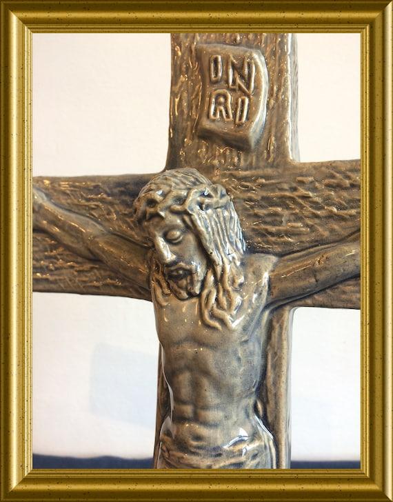 Vintage ceramic cross: crucifix, Jesus Christ