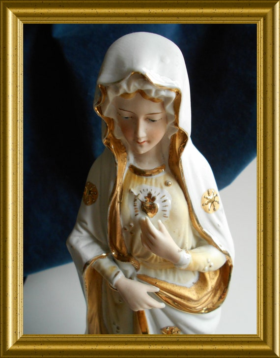 Antique bisque porcelain Holy Mary figurine
