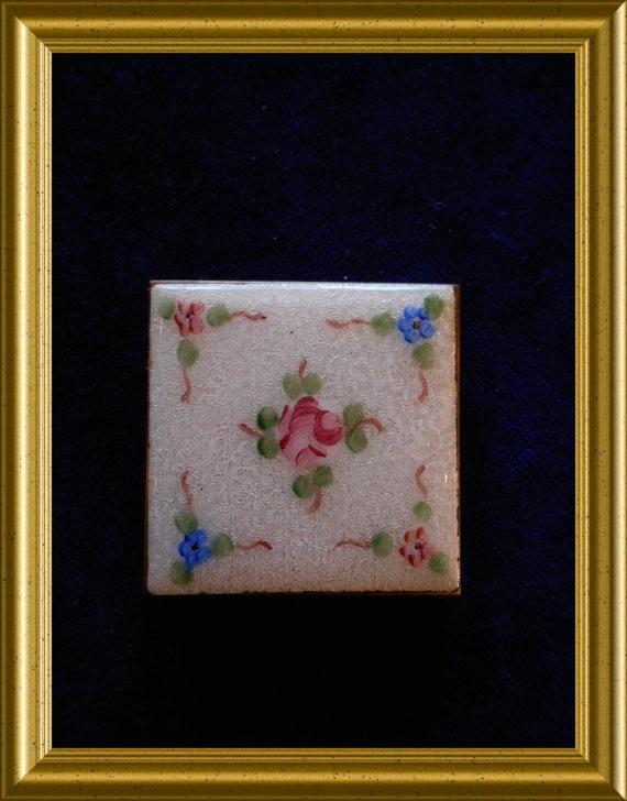 Antique guilloche enamel rouge compact box