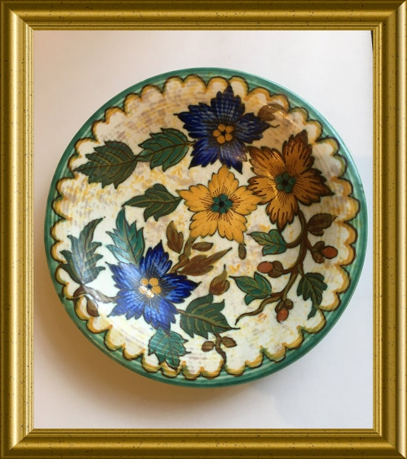 Antique hand painted art pottery bowl: PZH Gouda, decor Risa, 40's