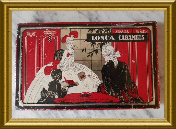 Antique art deco tin : Lonca Caramels