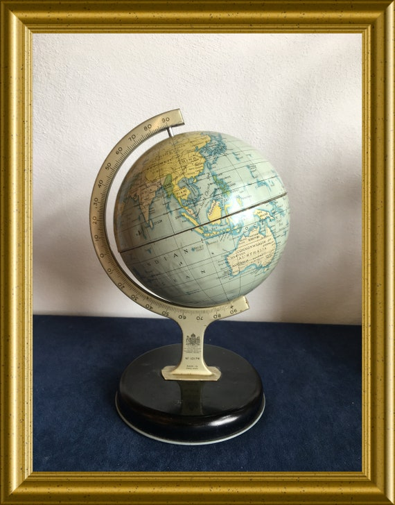 Vintage tin plate atlas globe, metal world globe: Chad Valley no. 10174