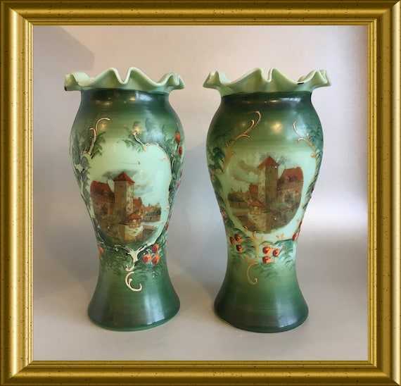 Pair of Victorian French opaline glass vases