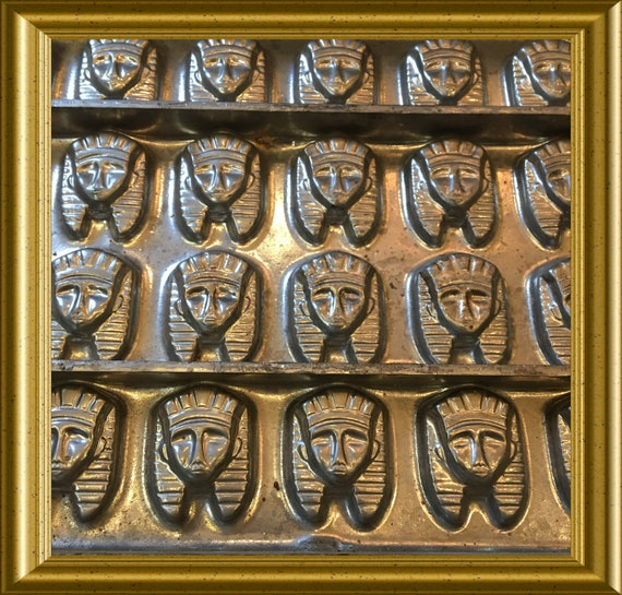 Vintage heavy metal chocolate mould, mold: pharaoh