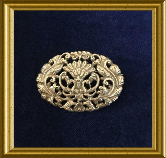 Vintage silver pin brooch: yogya, peacock