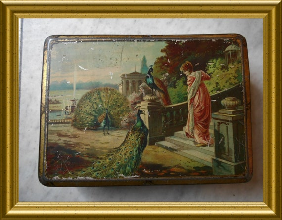 Antique jugendstil / art nouveau tin : lady, peacock, swan