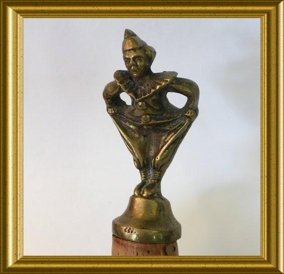 Vintage bronze bottle stopper/ cork: pierrot, clown