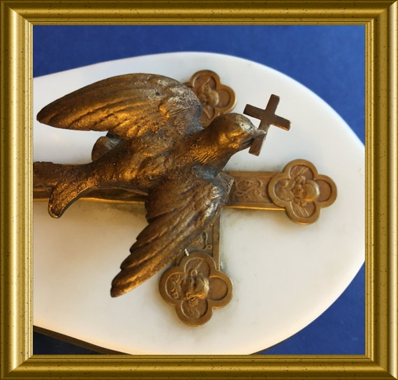 Antique French wall decor: gilded dove on onyx, holy spirit, peace dove, cross, angels, protection