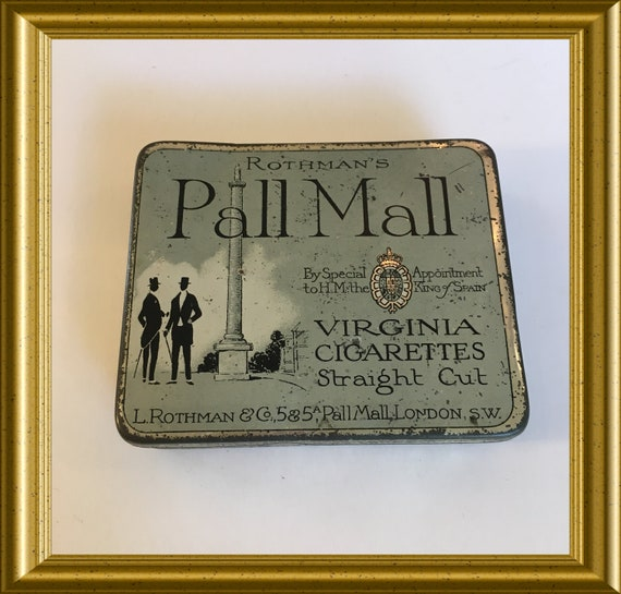 Art deco Pall Mall cigarette tin, Straight Cut, Virginia