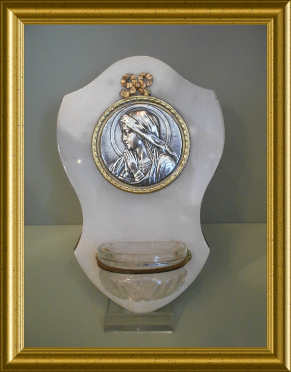 Vintage holy water font, signed Ruffony