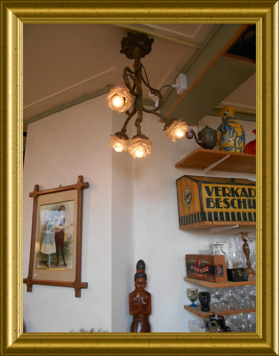 Local pick-up in Gouda only: antique bronze lamp, shipping not available