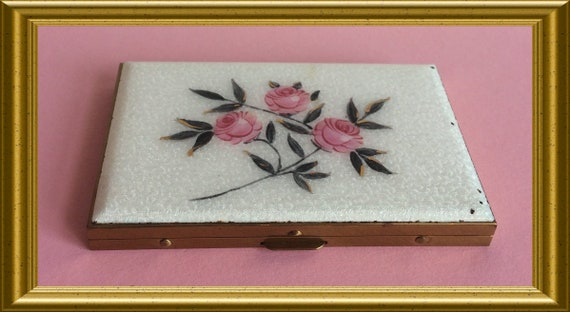 Vintage business card case, guilloche enamel rose