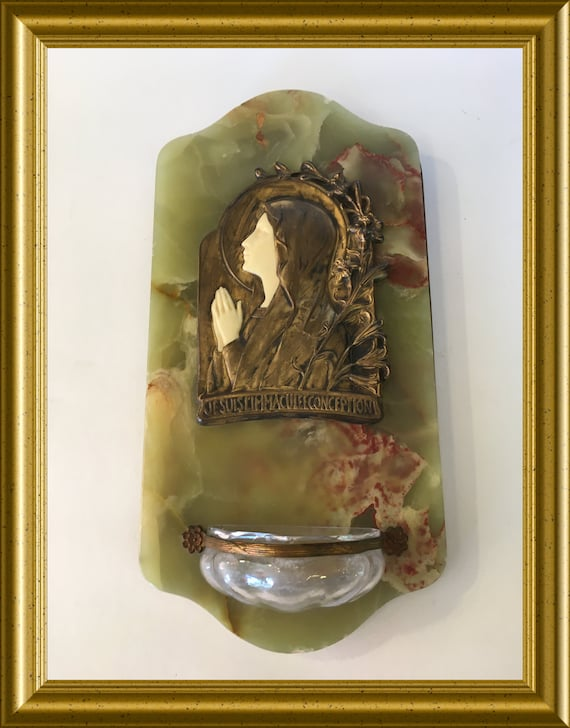 Antique holy water font: onyx, Holy Mary