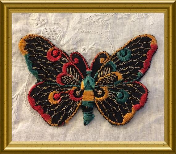 Vintage woven Turmac silk : butterfly