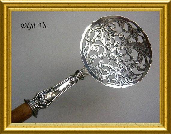Vintage silver sugar spoon, caddy