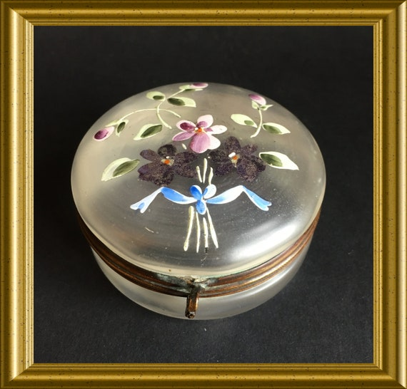 Antique glass box, powder compact, enamel flower decoration