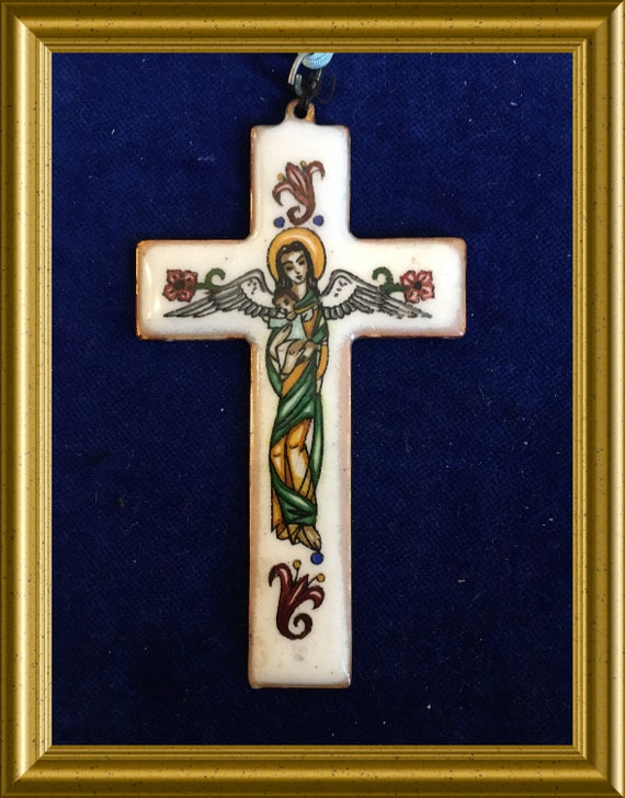 Vintage enamel cross : angel with child / guardian angel
