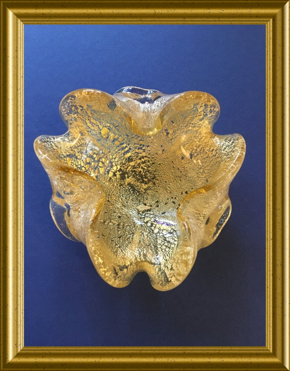 Vintage Murano glass bowl with golden flakes inclusions