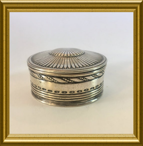 Vintage small round silver plated box