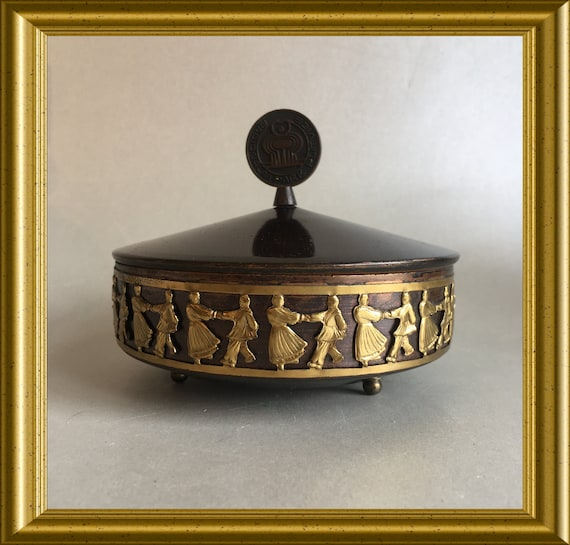 Vintage footed round box: Auro Metal, Subotica, Serbian dancers