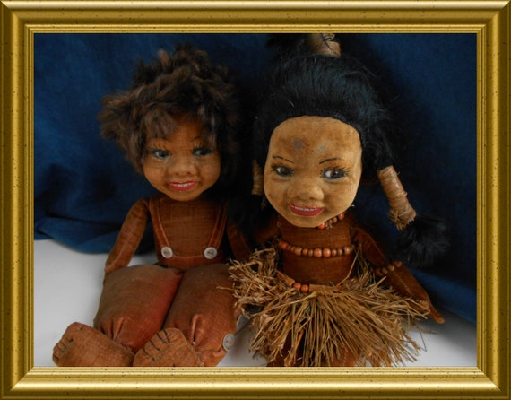 Two antique Norah Wellings dolls with glass eyes