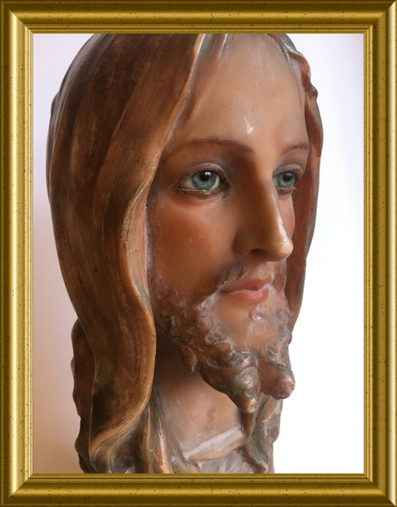 Local pick-up in Gouda only: wax bust Jesus Christ, glass eyes, shipping not available