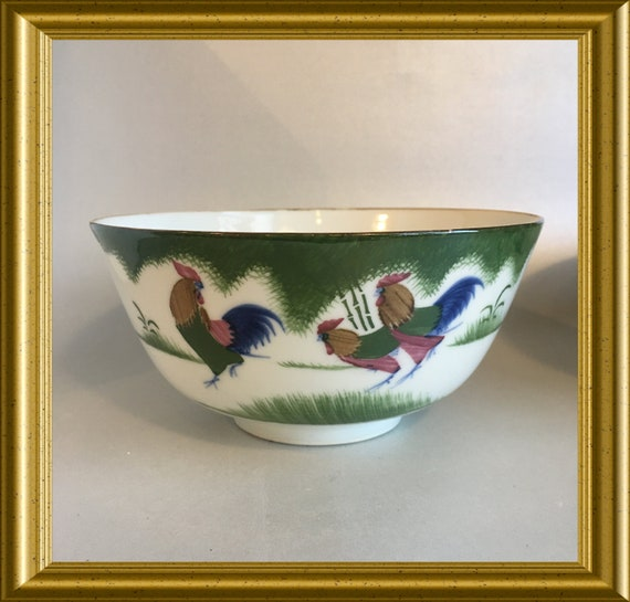 Vintage Chinese porcelain rice bowl: rooster