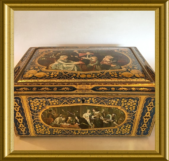 Antique tin box with mirror inside: Dutch/ European painters