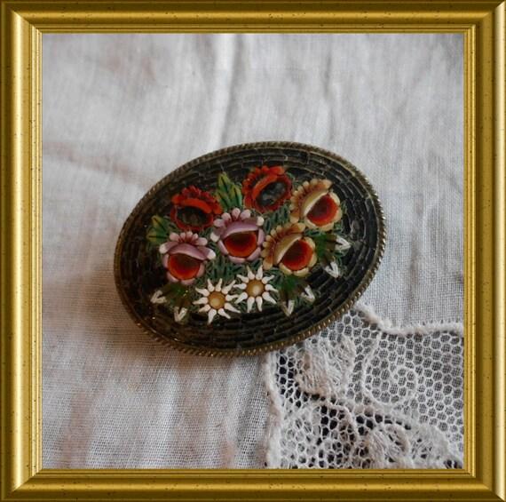 Vintage black brooch : micro mosaic glass, millefiori