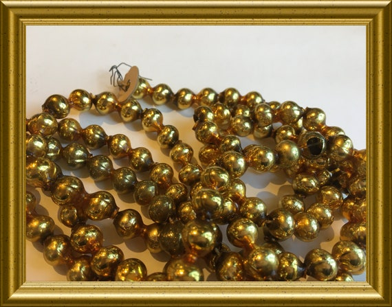 Antique golden beaded glass christmas tree garland, 70 inch