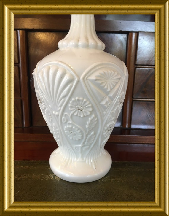 Antique white milk glass vase, pressed glass