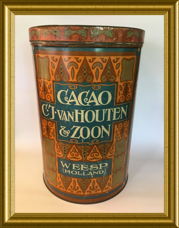 Art deco van Houten cacao tin box