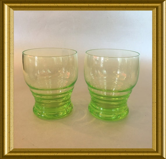 Annagreen uranium glass: two drinking glasses