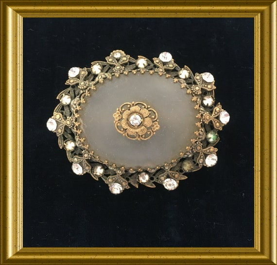 Vintage camphor glass brooch, frosted glass