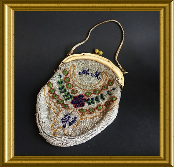 Antique beaded purse / handbag / evening bag