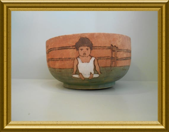 Antique handpainted wooden bowl