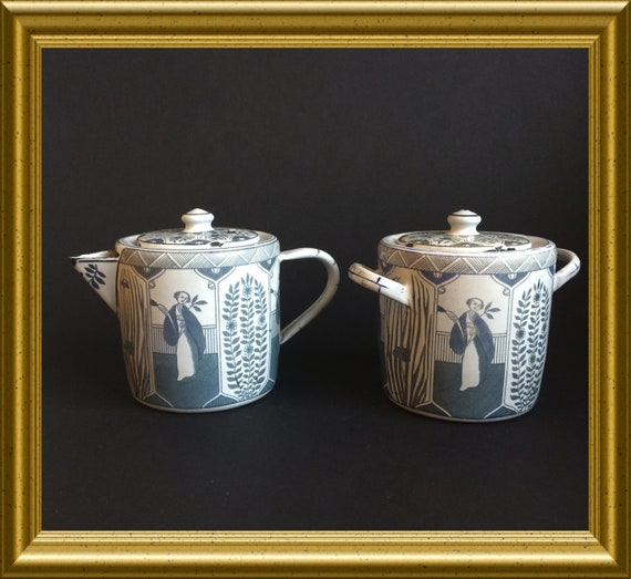 Vintage enamel ware sugar bowl and creamer: Long Eliza