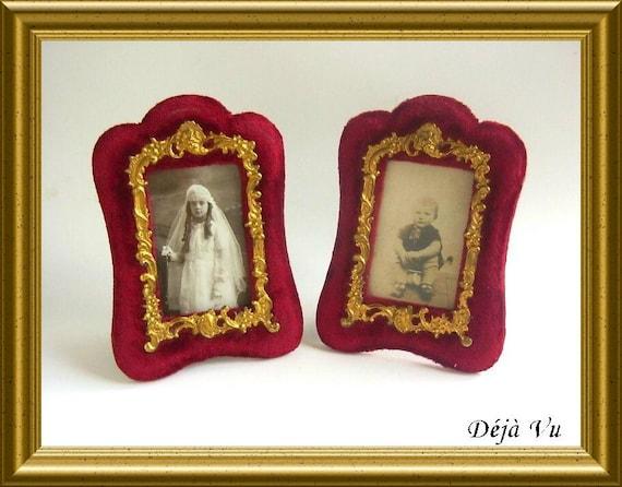Two antique frames, red velvet