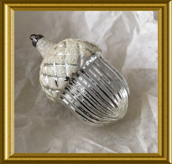 Vintage glass christmas ornament: silver acorn