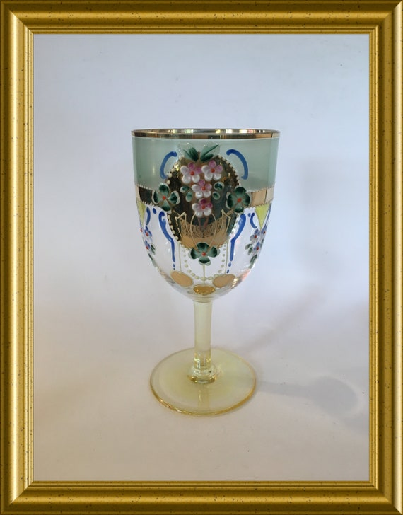 Vintage glass with enamel painted flower decoration