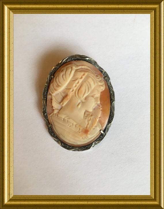Antique shell cameo brooch/ pendant: portrait