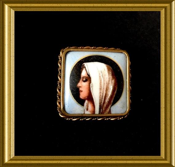 Vintage French Limoge porcelain portrait brooch: Madonna, Mary