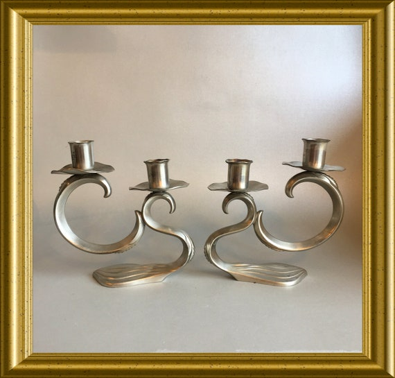 Two vintage pewter candle holders: Made in Holland
