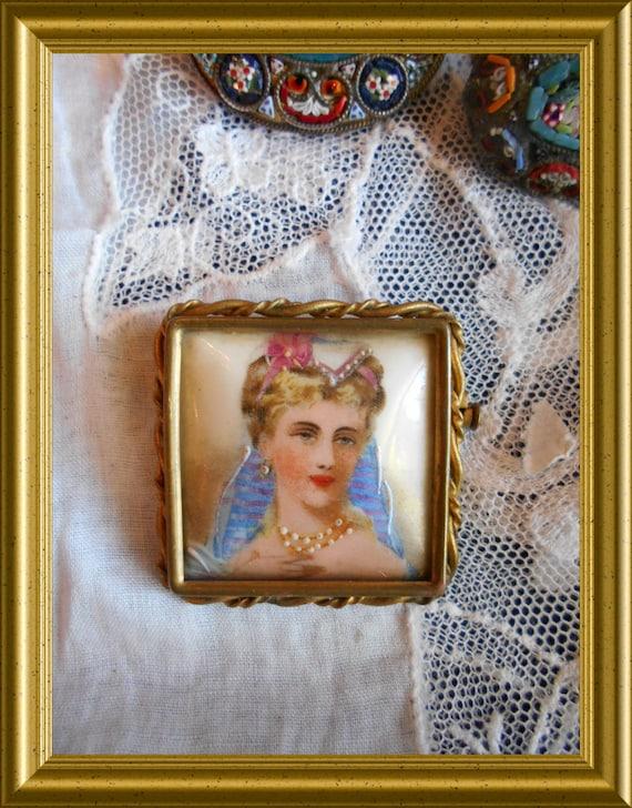 Vintage French porcelain portrait brooch: Limoge