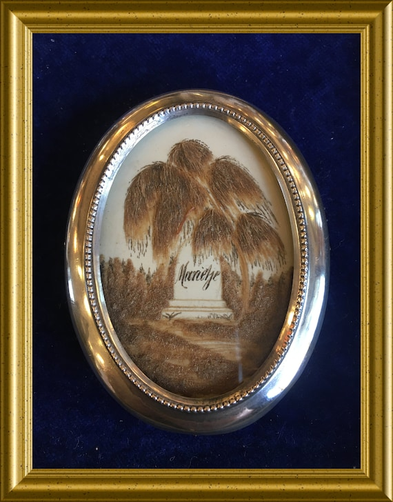 Victorian mourning hair work in small oval silver frame: grave, willow, Marietje, memento mori