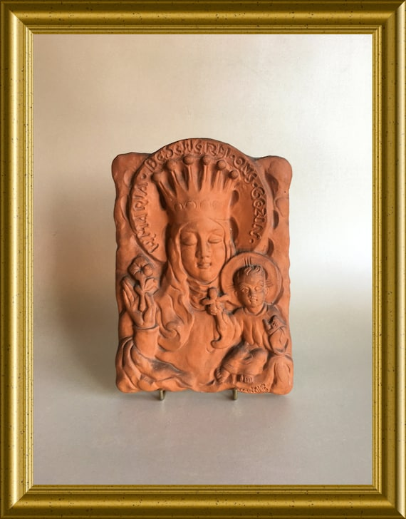 Vintage terra cotta relief tile/ plaque: Holy Mary, protect our family, Wim Harzing